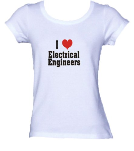 I Love/Heart Electrical Engineers Ladies/Juniors Fitted Scoop-Neck T-Shirt Wh...