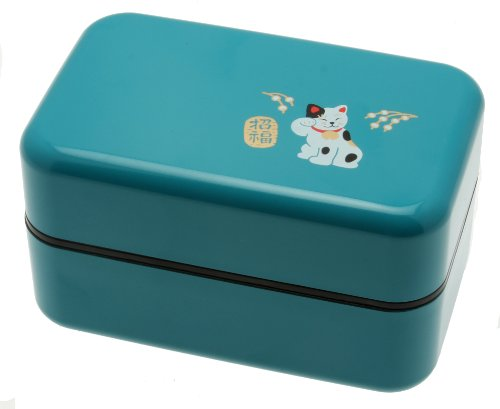 Kotobuki 2-Tiered Bento Box, Maneki Neko Lucky Cat, Teal