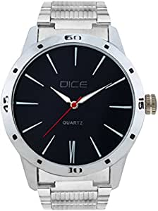 "Dice ""Numbers 4256"" Formal Round Shaped Wrist Watch for Men. Fitted with Beautiful Black Color Dial, Stainless Steel Case and Chain"
