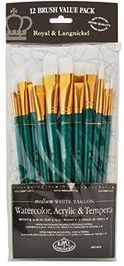 Royal & Langnickel RSET-9310 - Medium White Taklon 12-teiliges Pinsel Set gemischt