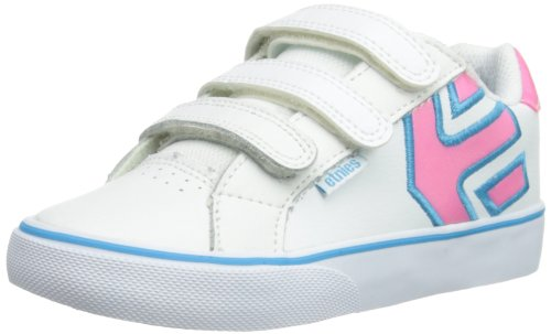 Etnies Unisex-Child K Fader Vulc Strap Leather Trainers 4301000091 White/Light Pink 1 UK, 34 EU, 2 US