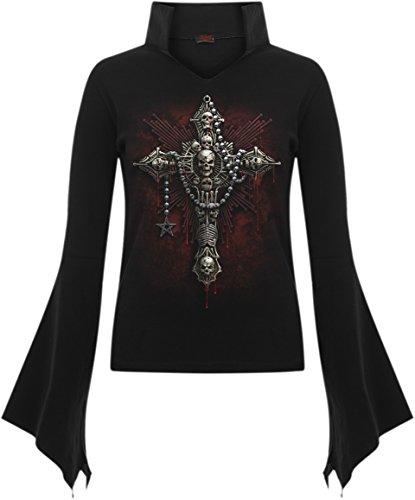 Spiral-Le donne-Morte Goth Ossa-Collo alto Top nero Black L
