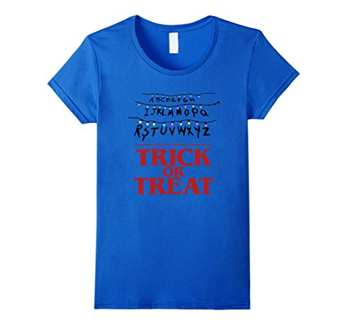Women's Stranger Trick or Treat - Funny Halloween Things T-shirt Small Royal Blue (2016 Pumpkin Carving Ideas)