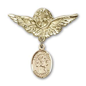 14K Gold Baby Badge with St. Felicity Charm and Angel with Wings Badge Pin