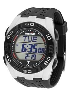 Sinar Armbanduhr - Funkuhr mit Resinband und Licht Weltzeit Stoppuhr Timer - Schwarz