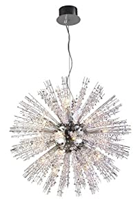 Andromeda Chandelier with Clear Crystals in Polished Chrome Size: Large