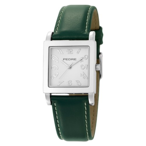 Pedre Women's 7955SX Silver-Tone/ Hunter Green Leather Strap Watch