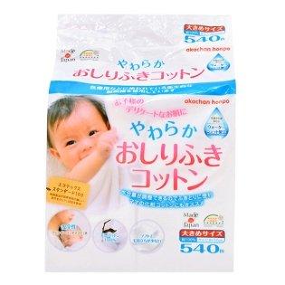 やわらかおしりふきコットン 日本製540枚 大きめサイズ8×12CM 綿100%