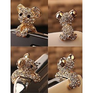 New Crystal Dog Puppy Bear 3.5mm Antidust Anti Dust ear cap for iphone 5, HTC, Samsung