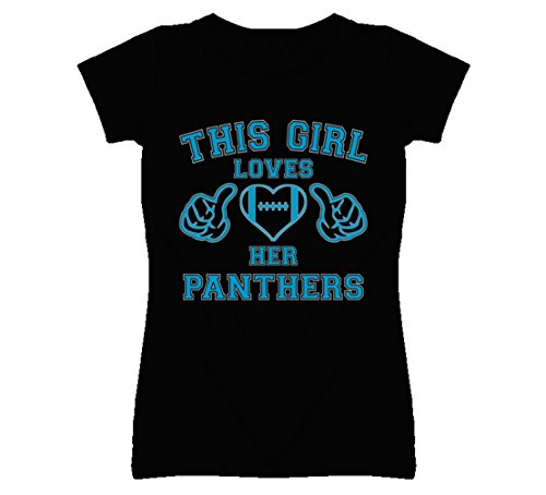 South Beach Women's This Girl Loves Her Carolina Panthers T-Shirt 2XL Black