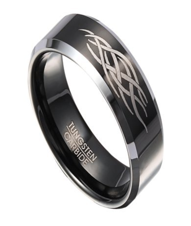 Men'S Two Tone 8Mm Comfort Fit Flat Profile Black Tungsten Ring With Tribal Flame Design And Polished Gunmetal Edges