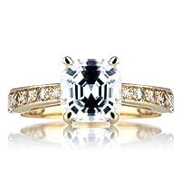 DeGeneve's Engagement Ring - Gold, Asscher Cut CZ from Emitations