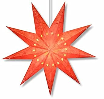 Star Lights - Red Starburst 9-Pointed Paper Star Lamp/Lantern
