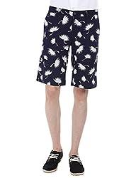 Zobello Men's Printed Summer Twill Shorts(31098B_White Flower Print_33)
