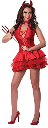 Delicious Women's The Devil Made Me Do It Sexy Costume, Red, Medium/Large