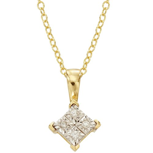 DiAura 14k Gold Plated Silver Diamond-Accent Solitaire Pendant Necklace