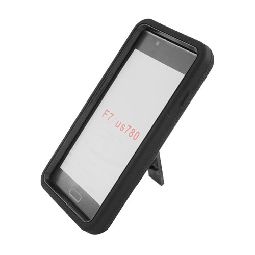 Eagle Cell Hybrid Skin Case with Kickstand for LG Optimus F7/US780 - Retail Packaging - Black/Black Stand (Lg Optimus F7 Cases compare prices)