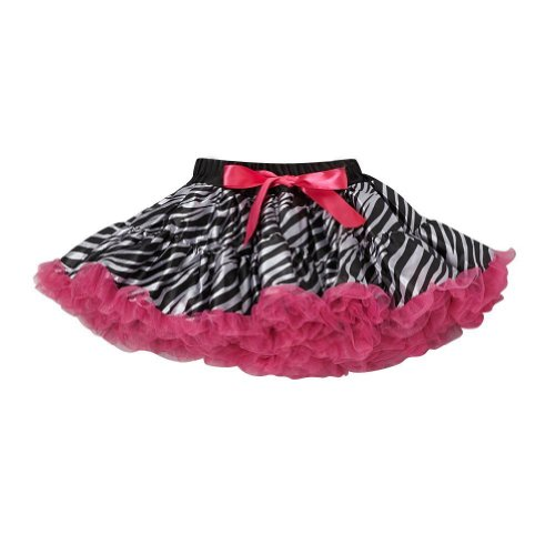 [Hot Pink Zebra Pettiskirt - Size Large (8-10)] (Little Zebra Girls Costumes)