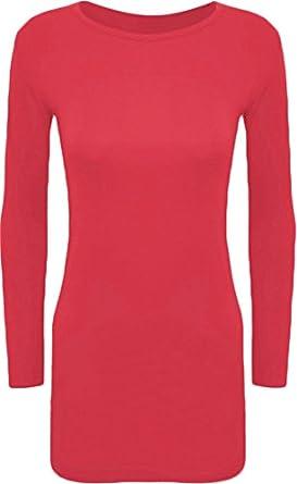 WearAll - Damen Minikleid Langarm - Cerise - 36-38