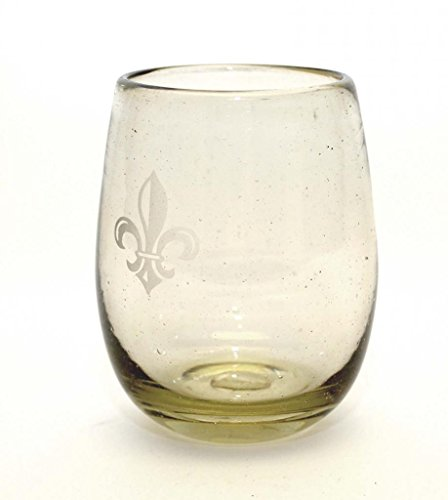 set-of-4-clear-stemless-wine-glasses-with-etched-fleur-de-lis-16-ounces-handmade-with-recycled-glass