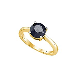 10k Yellow Gold Black Colored Round Diamond Solitaire Womens Bridal Engagement Ring 2.05 Cttw