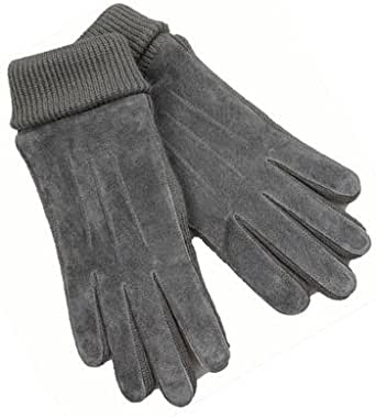 Amazon.com: Men's Suede Knit Winter Gloves With Wrist Cuff