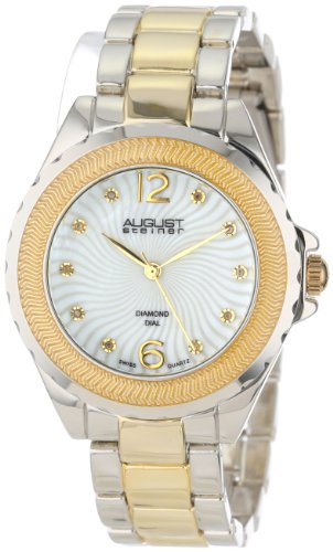 August Steiner Women's Genuine Diamond Mother-Of-Pearl Bracelet Watch