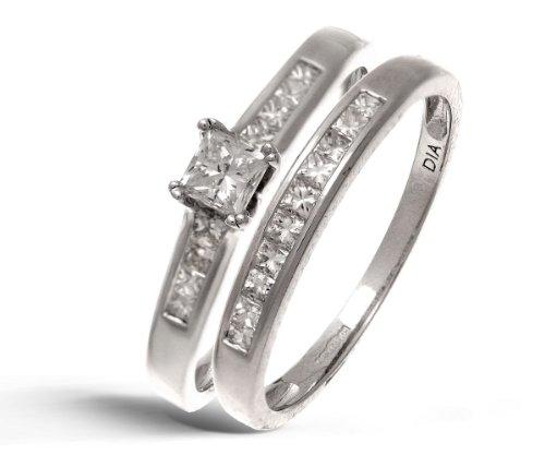 9ct White Gold Channel Set 0.50ct Princess Cut Diamond Bridal Set Ring - Size O
