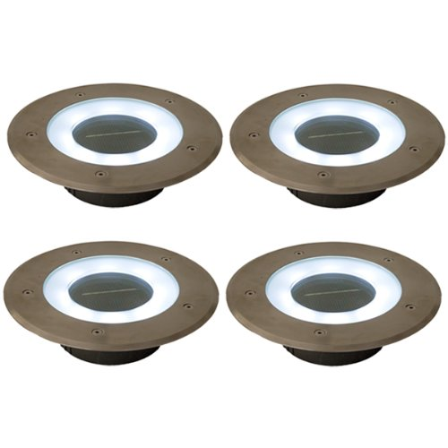 (4 Pack) Commercial Grade 8 Led White Halo Solar Round Recessed Deck Dock Patio Pathway Light