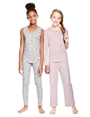 2 Pack Cotton Rich Ditsy Floral & Spotted Pyjamas