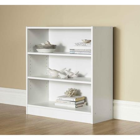 Mainstays Wide 3-Shelf Bookcase (White) White 3 Shelf Bookcase