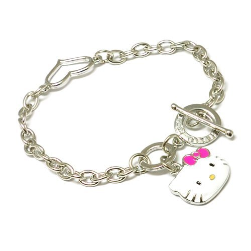 The Olivia Collection Enamel Kitten Bracelet With T-Bar Closure