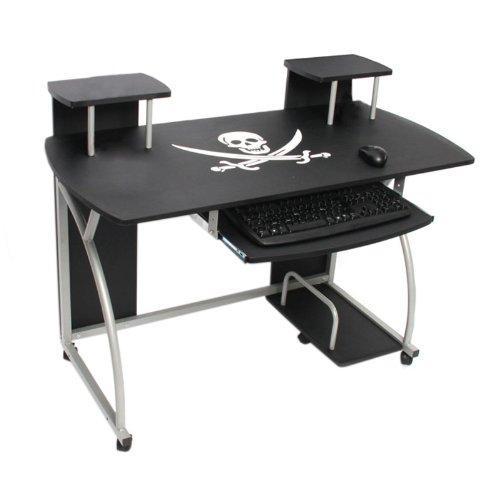 Jugend-Schreibtisch Computertisch Bürotisch Ohio, ca 90x115x55cm ~ Pirat schwarz jetzt kaufen