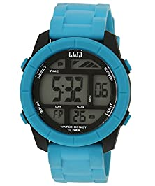 buy Q&Q #M123J004Y Men'S Big Size Colorful Blue Chrono Alarm Digital Watch