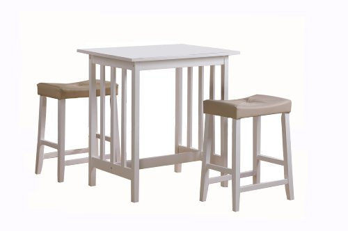 Homelegance Scottsdale 3-Piece Counter Table and Stools, White (White Pub Table compare prices)