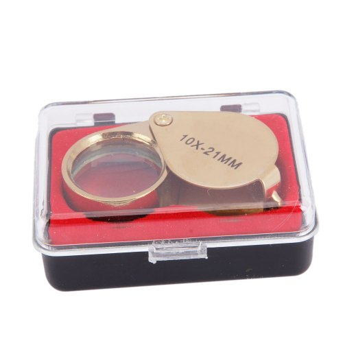 10X 21mm Golden Mini Jeweler Jewelry Loupe Magnifier Glass