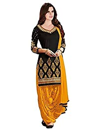 Little Lady Women's Cotton Silk Salwar Suit (LADYDM01_Black_Free Size)