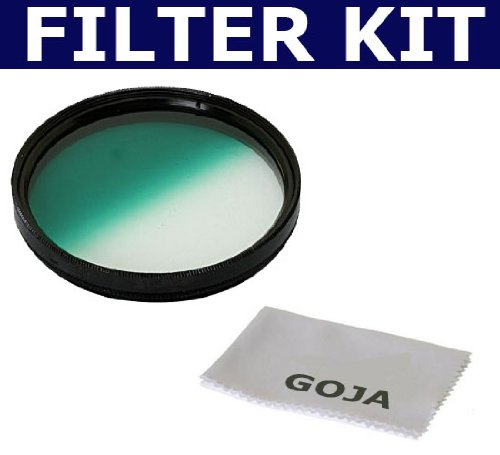 58MM Half Color and Half Green Graduated Filter for any 58MM Camera Lens (High Quality) + 1 Ultra Fine Microfiber Cleaning Cloth GOJA Logo