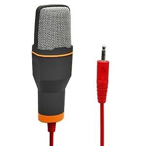 Elinka Professional Condenser Sound Podcast Studio Microphone for PC Laptop Skype MSN Computer Recording Black with Windscreen Sponge Sleeve (Color: Black)