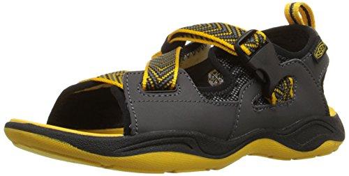 KEEN Rock Iguana Sandal (Little Kid/Big Kid), Black/Yellow, 5 M US Big Kid