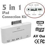 Kit de connexion pour iPad 5 en 1 - Entrée USB et Mini USB - Lecteur de cartes SD et Micro SD - Afficher votre iPad sur votre télé HD ou votre rétroprojecteur