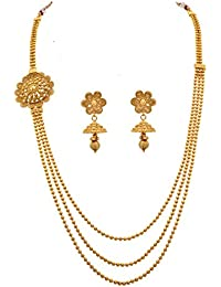 JFL - Glorious One Gram Gold Plated Bead Designer Necklace / Jewellery Set For Women