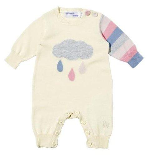 Bonnie Baby Rainy Cloud Fine Knit Playsuit - Creme & Pastel Stripe