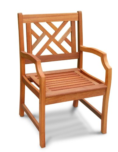 VIFAH V187 Outdoor Wood Arm Chair, Natural Wood Finish, 23 by 23 by 37-Inch