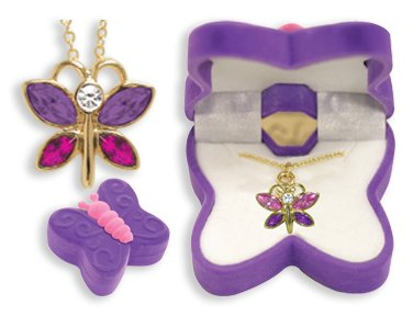 BUTTERFLY Necklace Charm Pendant w/ Crystal Wings in Butterfly Velour Gift Box-Colors may vary: Jewelry