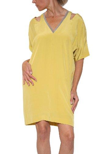 Women's Nicole Miller Silk Cutout Dress in Yellow Size S