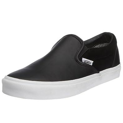 vans unisex classic slip on leather suede black true white vex539v 3 5. Black Bedroom Furniture Sets. Home Design Ideas
