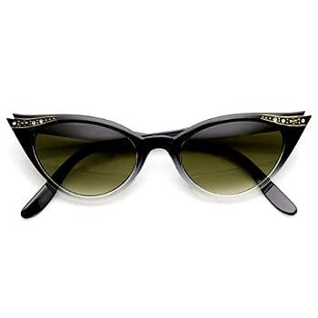 zeroUV - Vintage Inspired Mod Womens Fashion Rhinestone Cat Eye Sunglasses