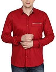 Stylox Men's Maroon Cotton Shirt Maroon