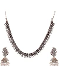 Ganapathy Gems Silver Metal Strand Necklace Set For Women (GPJC53)